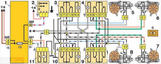 Подключение реле стеклоподъёмников ВАЗ 2112