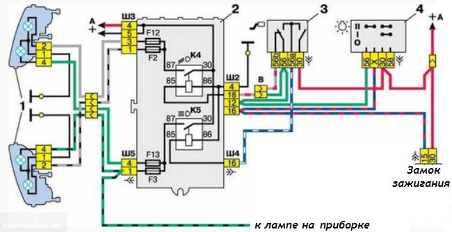 Схема питания фар ВАЗ 2112