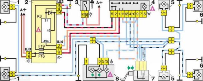 Схема питания поворотников ВАЗ 2112