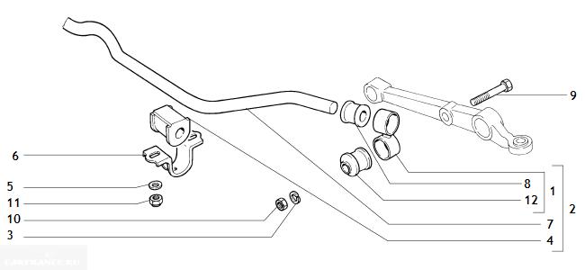 Стабилизатор передней подвески ВАЗ 2112