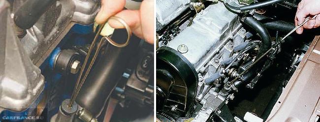 Контрольный щуп на моторе ВАЗ 2114