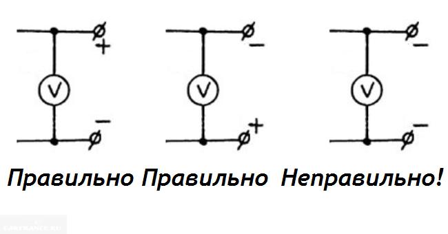 Подключение вольтметра для проверки массы