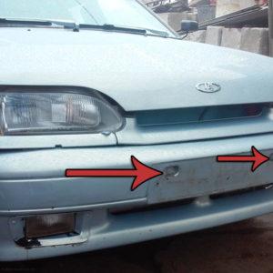 ДВа болта крепления переднего бампера ВАЗ-2114 под номерным знаком