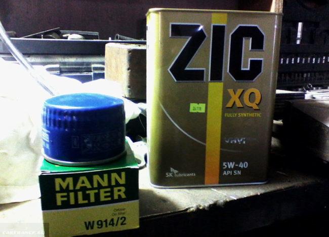 Комплект для замены моторного масла на ВАЗ-2114 масло и масляный фильтр