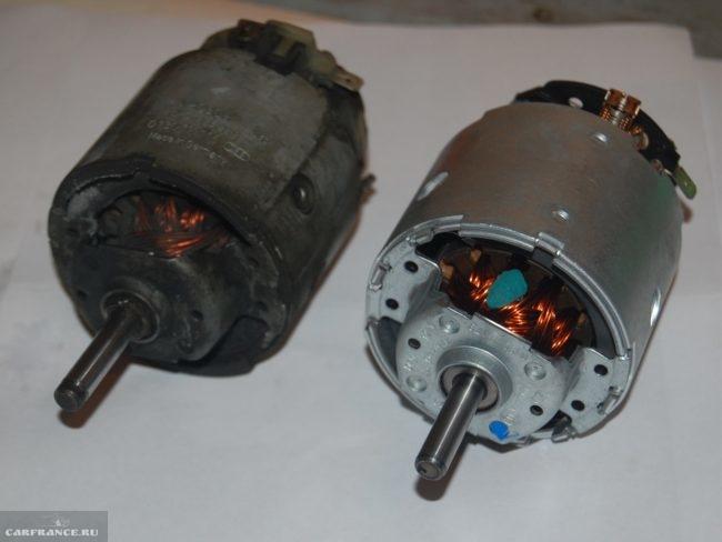 Старый и новый моторчик отопителя ВАЗ-2114