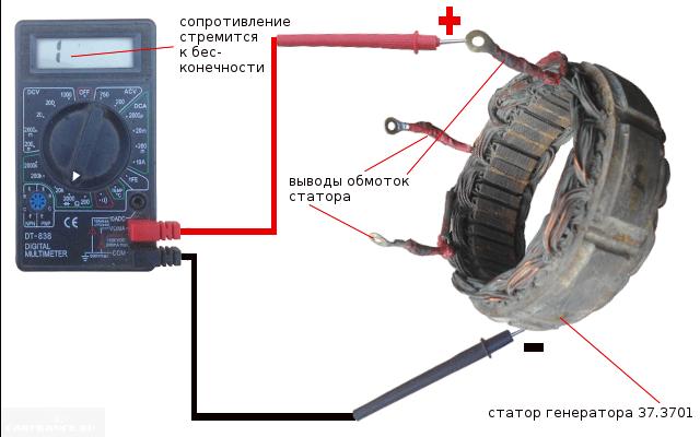 Замер обмотки генератора ВАЗ-2114 тестером
