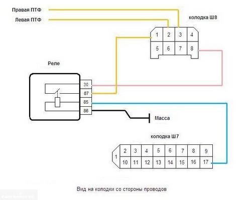 Схема питания ПТФ ВАЗ-2114