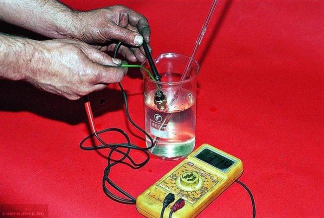 Проверка датчика температуры в соответствии с температурой