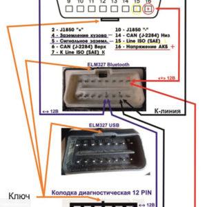 Схема подключения 12-ти пинового разъёма к стандартному диагностическому адаптеру на ВАЗ-2112