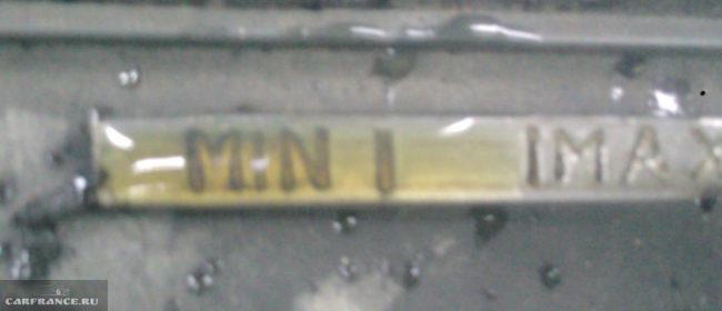 Метки щупа уровня масла в КПП ВАЗ-2114