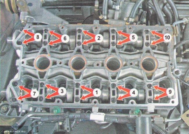 Схема затяжки постели распредвалов ВАЗ-2112