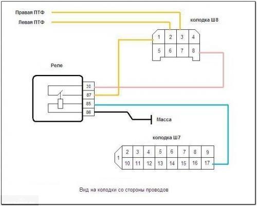 Схема ПТФ ВАЗ-2114