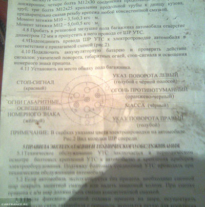 Распиновка электрики фаркопа на ВАЗ-2114 к питанию