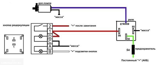 Схема подключения помпы на ВАЗ 2114