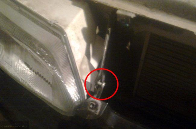 Крепление фары на ВАЗ-2114 болт около решётки радиатора