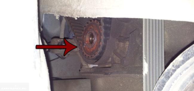 Приржавела шестерня коленвала на ВАЗ-2114
