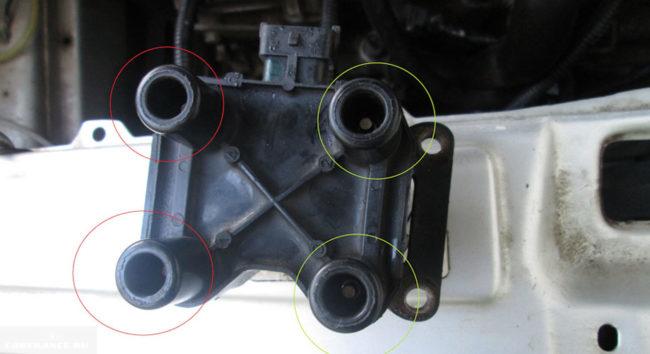 Катушка зажигания с отмеченными контактами для проверки на ВАЗ-2114