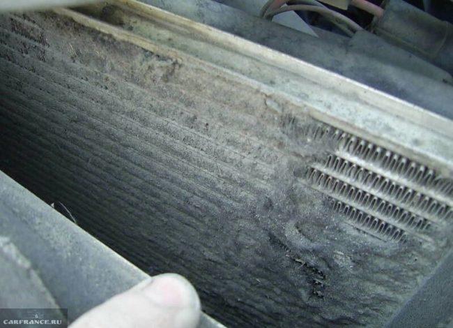 Забитые соты радиатора охлаждения двигателя ВАЗ-2114