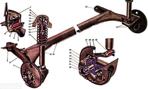 Схема задней подвески ВАЗ-2114