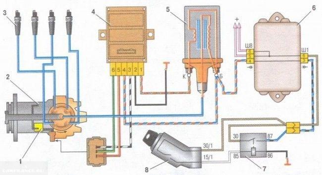 Схема системы зажигания ВАЗ-2114