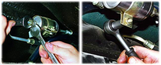Процесс демонтажа топливного фильтра на ВАЗ-2114
