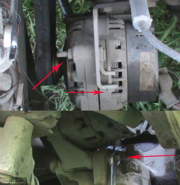 Демонтаж болтов генератора на ВАЗ-2114