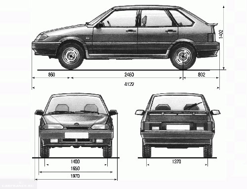 Габаритные размеры ВАЗ-2114