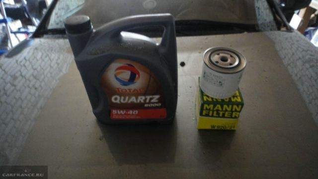 моторное масло Тоталь и масляный фильтр MANN для двигателя Лада Приора