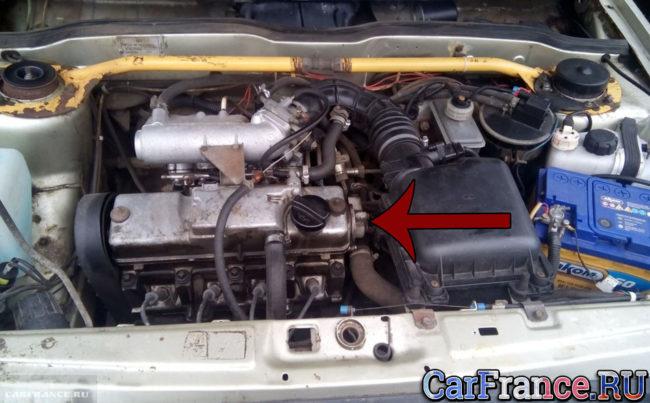 Расположение номера двигателя под капотом ВАЗ-2114