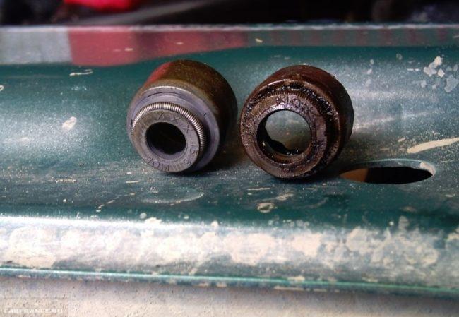 Новый и изношенный сальник клапанов ВАЗ-2114