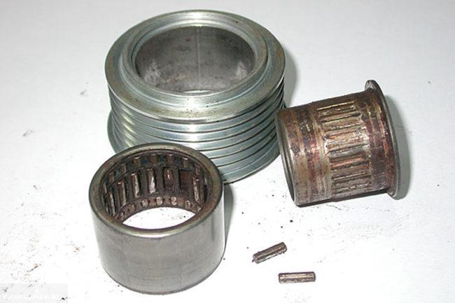 Износ наружной обоймы муфты с роликами, шкив, внутренняя обойма