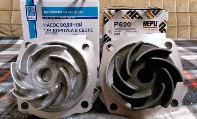 Водяные насосы производителя Hepu и Тая Нива Шевроле с упаковками