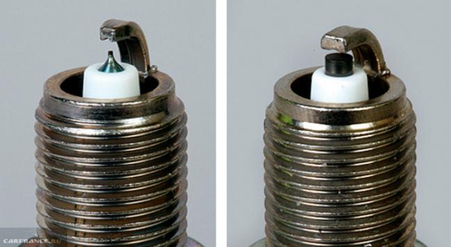 Свечи зажигания: слева - иридиевая, справа - обычная