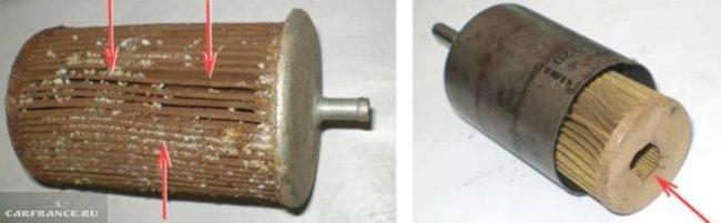 Загрязненный фильтрующий элемент фильтра тонкой очистки вблизи