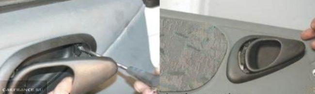 Процесс демонтажа пластиковой накладки ручки передней двери Нива Шевроле
