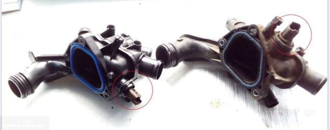 Рестайлинговый и дорестайлинговый термостаты на Пежо 308