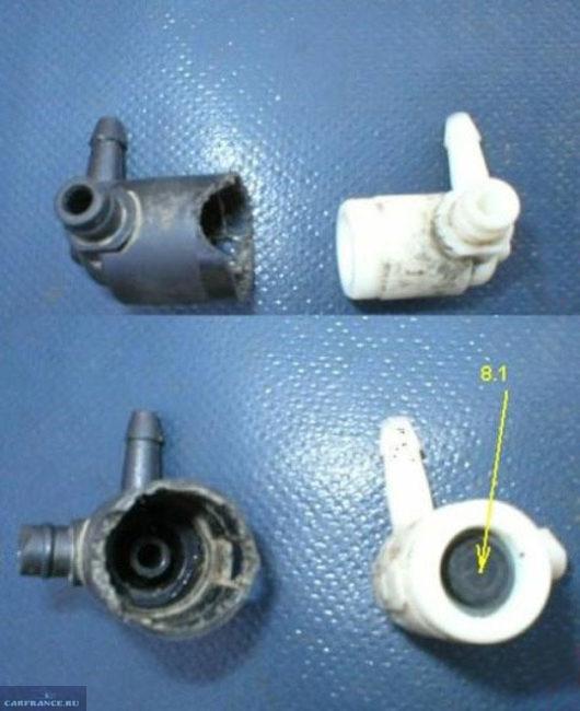 Клапан омывателя Пежо 308 в разобранном состоянии