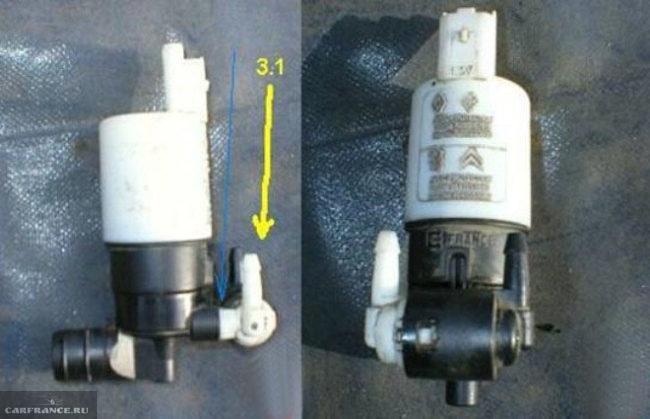 Отсоединение клапана от корпуса омывателя Пежо 308