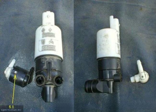 Процесс разборки клапана моторчика омывателя Пежо 308