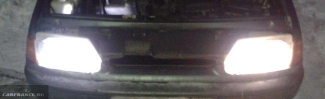 Свет галогенных ламп на ВАЗ-2114
