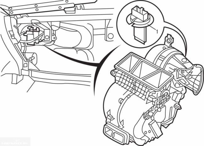 Расположение схема отопителя Пежо 307
