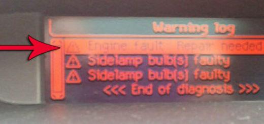 Надпись на БК Engine fault: repair needed на Пежо 308