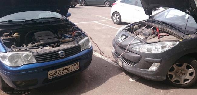 Прикуривание Пежо 308 при помощи проводов и другого автомобиля