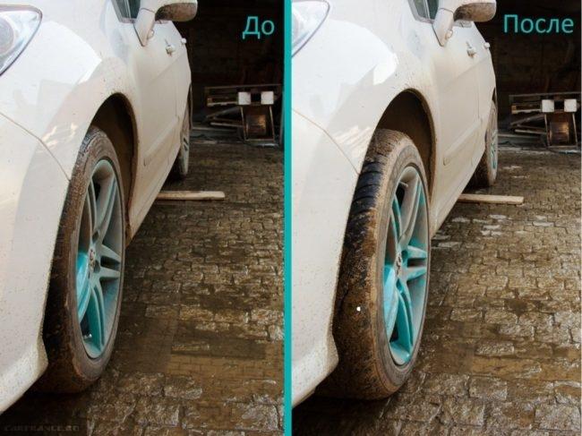До и после использования проставок для увеличения клиренса на Пежо 308