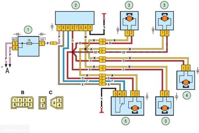 Электросхема центрального замка Шевроле Нива