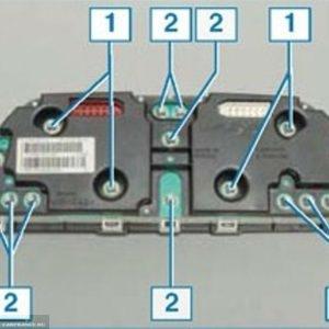 Схема расположения контрольных ламп и подсветки панели приборов Нива Шевроле