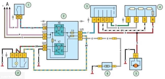 Электрическая схема включения двигателя отопителя Нива Шевроле