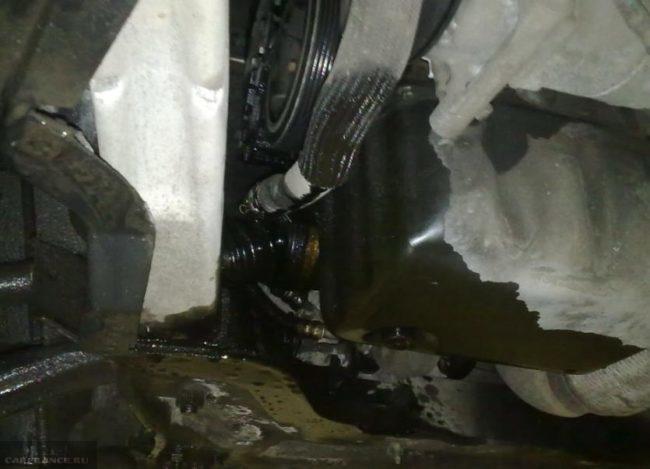 Двигатель Пежо 308 в масле крупным планом