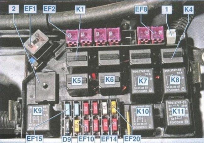 Блок предохранителей под капотом Шевроле Ланос