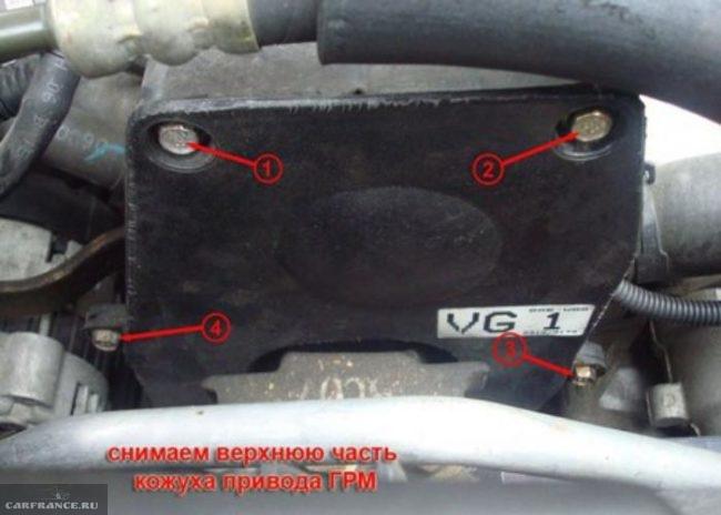 Демонтаж верхней части кожуха привода ГРМ Шевроле Авео